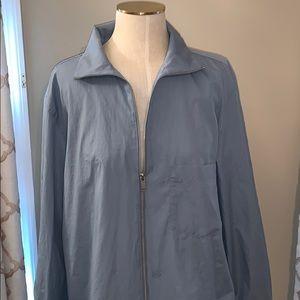 COS Zip Up A-Line Sky Blue Cotton Top